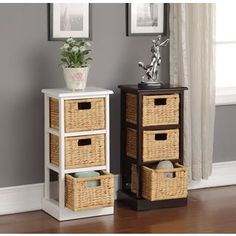 Mastercraft Basket Cabinet With 4 Wicker Baskets   Overstock.com Shopping - The Best Deals on Baskets & Bowls