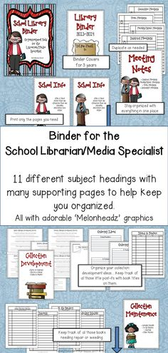 No doubt about it! A school librarian has to keep track of an amazing number of things. The binder system is one of the best ways to keep 'things' handy and neat. $