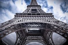 Eiffel Tower from the bottom to the top. #paris #france #europe #eiffel #tower #sky #clouds #structure #architecture #symbol #monuments