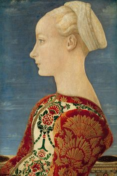 Profile Portrait of a Young Lady. c. 1465         Antonio del Pollaiuolo ( ca.1432-1498, Italian Early Renaissance Painter and Sculptor, Poplar panel, 53 x 37 cm, Gemäldegalerie, Berlin  ).