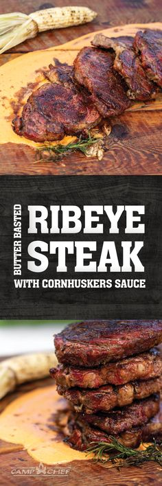 Nebraska - Thick cut ribeye steaks served with cornhuskers sauce. This recipe uses a reverse sear method to ensure juicy, perfectly cooked beef. Steak Recipes, Grilling Recipes, Cooking Recipes, Healthy Recipes, I Love Food, Good Food, Grilled Meat, Beef Dishes, Dessert