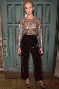 Jennifer Lawrence wearing Sophia Webster Belle Satin Platform Sandals, Naeem Khan Fall 2016 Deco Beaded Top and Naeem Khan Velvet Gaucho Pants