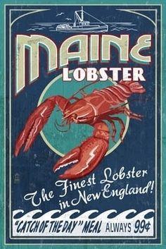 Maine Lobster Vintage Sign