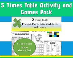 Maths Worksheets Multiplication Games Times Tables Kids by Ninalazina Multiplication Games, Math, 5 Times Table, Fun Activities, Worksheets, Homeschool, Printables, Kids, Etsy