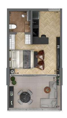 Studio Apartment Floor Plans, Studio Apartment Layout, Apartment Design, Small Apartment Plans, Bedroom House Plans, House Floor Plans, India Home Decor, Mini Loft, Hotel Room Design