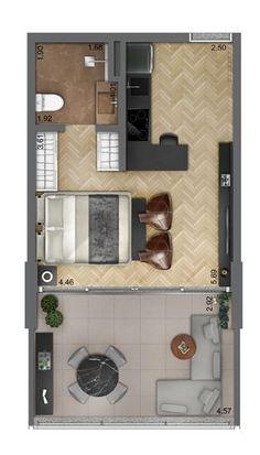 Studio Apartment Floor Plans, Studio Apartment Layout, Apartment Plans, Apartment Design, Layouts Casa, House Layouts, Bedroom House Plans, House Floor Plans, India Home Decor