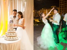 White Naked Wedding Cake with Cupcakes and Couple Dancing