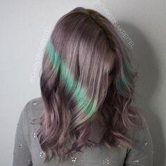 20 Ways to Rock Green Hair Green Hair Streaks, Purple And Green Hair, Pastel Purple Hair, Light Purple Hair, Dope Hairstyles, Creative Hairstyles, Pretty Hairstyles, Ashy Hair, Fantasy