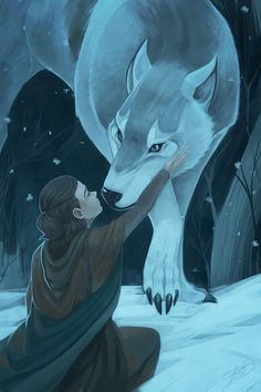 Arya Stark and her Direwolf, Nymeria.