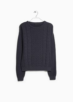Mango Cable-knit cotton sweater navy