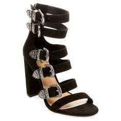 Women's Western Multiple Buckle Quarter Strap Sandals - Mossimo Supply Co. Black 5.5