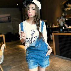 cute and hipster. Denim Jumper Shorts, Overalls, Tokyo Fashion, Fashion 101, Overall Shorts, Hipster, Washed Denim, Jumpers, Blouse