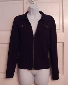 Caslon Sweater Black Zip Front Long Sleeves sz small Fall Winter cotton #Caslon #FullZip
