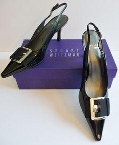 "Stuart Weitzman NIB ""Buckup"" Black Patent Slingback Heels Pumps Size 8.5B $298. #StuartWeitzman #Slingbacks #Any"