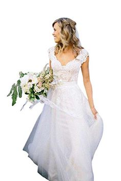 D.W.U Lace Long Garden Wedding Dresses Rustic Country Bridal Gowns StyleJ&Ivory US 2 * Click image to review more details.