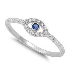 Sterling Silver Blue Stone Evil Eye CZ Ring