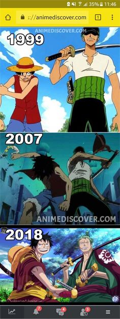 Luffy and Zoro through the years One Piece One Piece Anime, One Piece Gif, One Piece Figure, One Piece Funny, Zoro One Piece, One Piece Images, One Piece Pictures, Anime One, One Piece Cosplay