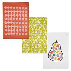 Buy John Lewis Scandi Fruit Tea Towels, Set of 3 Online at johnlewis.com