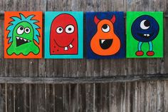 Kids Monster Art 16 x 20 Canvas Painting Set of 4 by KitsyCo, $150.00