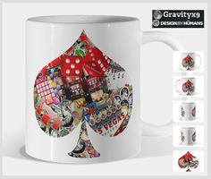 Spade Playing Card Shape Coffee Mug #designbyhumans by #gravityx9 #DBH   #LasVegasIcons fill this Playing Card Shape Coffee Mug Designs . From dice, lucky sevens, the Las Vegas Welcome Sign and more!   Tee shirts, wall art, stickers and phone cases are also available with these designs at #DesignsByHumans by #Gravityx9 -