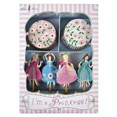 This kit will make your cupcakes look pretty! It will add fun and elegance to your princess themed party. The kit comes in a lovely presentation box with 24 cases in 2 different designs and 24 toppers in 4 different designs. Size: x x inches Meri Meri Princess Party Cupcakes, Princess Party Supplies, Cupcake Party, Party Box, Party Time, Party Favors, Cupcake Princesas, Princesas Disney, Cupcake Cases