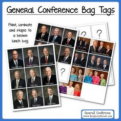 General Conference Idea for Kids!!  FREE BAG TAGS to help your children listen during General Conference.  All Leaders have been UPDATED!!  Download them for free today and get ready for a FANTASTIC General Conference Weekend!!  #ldsconf