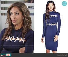 Lily's blue lace-up dress on The Young and the Restless.  Outfit Details: https://wornontv.net/70541/ #TheYoungandtheRestless