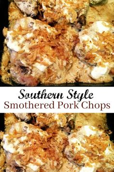 Southern Style Smothered Pork Chops is your traditional Southern meal made easy with the help of a can of Cream Of Mushroom Soup, Sour Cream and French Fried Onions! for dinner for two main dishes Smothered Pork Chops Recipe, Baked Pork Chops, Onion Recipes, Pork Chop Recipes, Southern Dinner, Southern Style, Fried Onions Recipe, Southern Cooking Recipes, Southern Meals