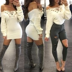 Sexy White Off Shoulder Lace-up Dress