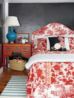 Get this look in your bedroom with the Cartia style upholstered headboard from Bedhead Design