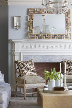 Traditional Living Room by Cindy Rinfret Greek key design Foyer Decorating, Interior Decorating, Decorating Ideas, Decor Ideas, 31 Ideas, Living Room Decor, Living Spaces, Living Rooms, Living Area