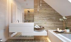 Bardzo schludna łazienka urządzona na poddaszu czerpie zarówno z naturalnego stylu skandynawskiego, jak i z nowoczesnej...