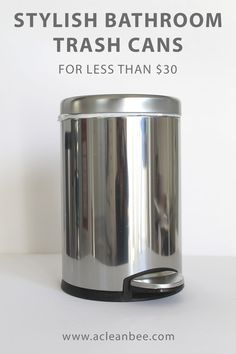This list of stylish bathroom trash cans includes small trash cans for modern, clean bathroom designs. Don't sacrifice style when selecting a trash can! Deep Cleaning Tips, House Cleaning Tips, Diy Cleaning Products, Cleaning Solutions, Arm And Hammer Super Washing Soda, Housekeeping Tips, Cleaning Painted Walls, Bathroom Cleaning Hacks, Bathroom Organization