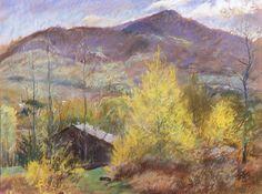 """Green Peak, Spring,"" Herbert Meyer, late 1930s, pastel, 16 1/2 in. x 21 3/4"", Addison Gallery of American Art."