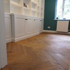 Oak parquet flooring in a modern study