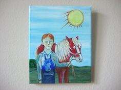 The Red Pony - Original Oil Painting on Canvas - John Steinbeck by kellygormanartwork on Etsy