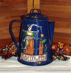 "Hand Painted ""The Perfect Pumpkin"" Blue Granite Ware Coffee Pot-Halloween-Fall Home Decor-Folk Art-Primitive-Decorative Painting-Tole Paint on Etsy, $24.00"