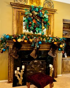 Leopard and turquoise Christmas decor