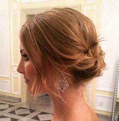 Messy Bridal Updo for Shoulder Length Hair