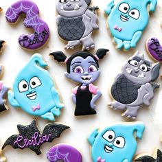 A Vampirina birthday party for a very special 3 year old! 🕸💜 • • • #vampirina #vampirinaparty #vampirinacookies #birthdaycookies…