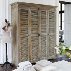 Old bookshelf, add crown molding and shutter doors. Shutters make everything better :) Shutter Doors, Furniture, House, Furniture Makeover, Home, Home Diy, Old Bookshelves, Tv In Bedroom, Home Decor