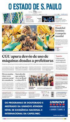 Capa do 'Estado' nesta segunda, 23 de dezembro de 2013: CGU apura desvio de uso de máquinas doadas a prefeituras http://oesta.do/1e51qi7