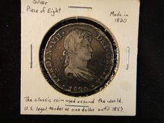 Lot 153: 1820 Spanish Silver 8 Reale Coin - Chumney House Auctions, LLC | AuctionZip
