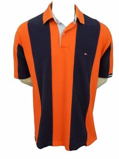 Tommy Hilfiger Polo Shirt Size XL Orange & Blue Striped Cotton Short Sleeve…