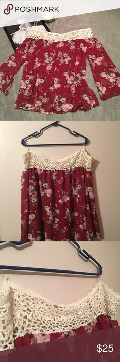 NWT Adams off the shoulder top with lace 1x off the shoulder top with floral design and lace around the top | this top is gorgeous on i actually went back and bought one in my size I loved it so much!!! Adara Tops Blouses