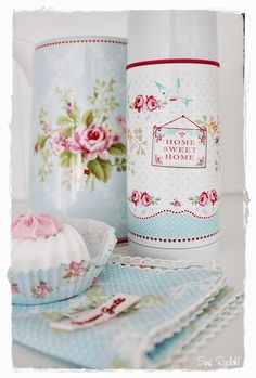 Try painting container | decoupage w/flowers   | idea from greengate