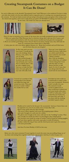 Unless you are living the lifestyle this is a great tutorial for putting together an outfit. Never underestimate the power of safety pins for any and all cosplay!