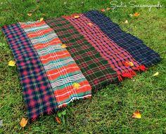 DIY Plaid Throw Blanket From Vintage Wool Scarves