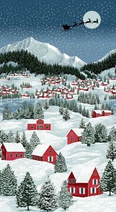 Christmas Fabric Panels Catalogue - The Log Cabin Winter Christmas Scenes, Cozy Christmas, Christmas In July, Country Christmas, Christmas Crafts, Winter Illustration, Christmas Illustration, Christmas Clipart, Vintage Christmas Cards