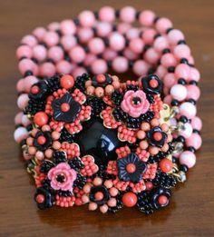 Stanley Hagler Signed Vintage 6 Strand Coral Black Beaded Centrepiece Bracelet